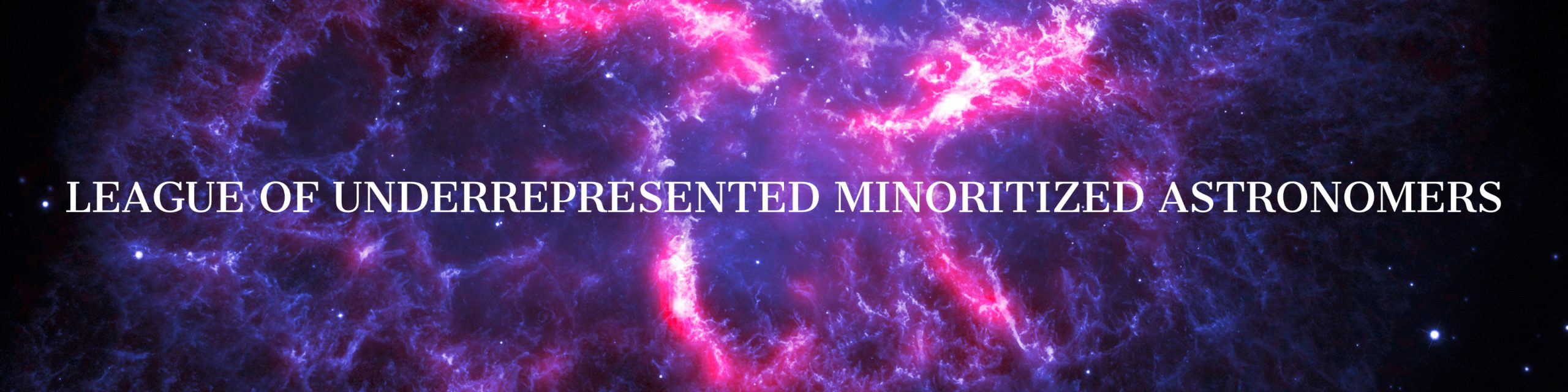 "Banner that says ""League of Underrepresented Minoritized Astronomers"""
