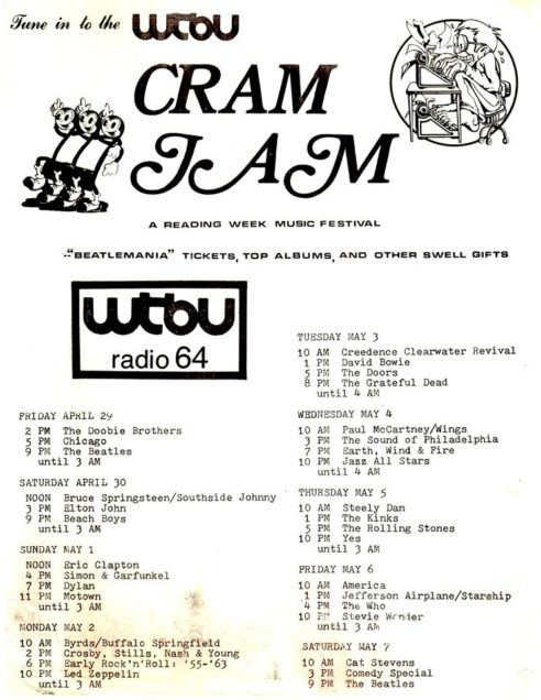 WTBU used to host a music festival called Cram Jam during study period for finals week. This was the poster for the first festival in the spring of 1977.